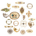 Estate Jewelry:Brooches - Pins, Diamond, Multi-Stone, Seed Pearl, Enamel, Glass, Gold Brooches. .... (Total: 20 Items)