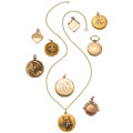 Estate Jewelry:Pendants and Lockets, Diamond, Ruby, Glass, Gold, Gold-Filled Lockets. ... (Total: 9Items)