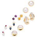 Estate Jewelry:Earrings, Diamond, Multi-Stone, Mabe Pearl, Gold Earrings. ... (Total: 7Items)