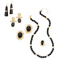 Estate Jewelry:Lots, Black Onyx, Gold Jewelry. ... (Total: 5 Items)