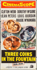 "Movie Posters:Romance, Three Coins in the Fountain (20th Century Fox, 1954). Three Sheet (41"" X 79""). Romance.. ..."