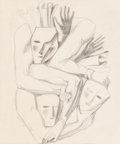 Fine Art - Work on Paper:Drawing, Gio Ponti (Italian, 1891-1979). Masks, 1942. Pencil onpaper. 8 x 6-3/4 inches (20.3 x 17.1 cm) (sheet). Signed anddate...