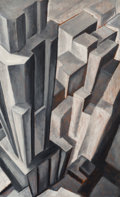 Fine Art - Painting, American:Modern  (1900 1949)  , Attributed to Leopold de Postels (American, 20th Century).Skyscraper. Oil on panel. 50 x 30-1/2 inches (127 x 77.5cm)...