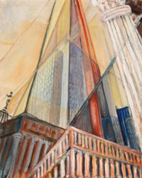 Irving Weiner (American, 20th Century) Skyscraper Oil on canvas 30 x 24 inches (76.2 x 61.0 cm)