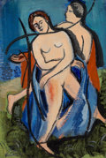Fine Art - Painting, European:Modern  (1900 1949)  , Ben Benn (Russian/American, 1884-1983). Frolicking Nudes. Oil on canvas laid board. 18-1/2 x 12 inches (47 x 30.5 cm). S...