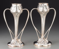 A Pair of Archibald Knox Tudric Silver-Plated Pewter Vases for Liberty & Co., Birmin