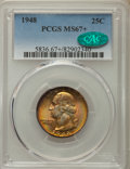 Washington Quarters, 1948 25C MS67+ PCGS. CAC. PCGS Population: (108/2 and 16/0+). NGCCensus: (286/1 and 3/0+). CDN: $200 Whsle. Bid for proble...