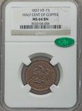 1837 Half Cent of Copper MS64 Brown NGC. CAC. Low-49, HT-73. Copper, 23.5mm, plain edge