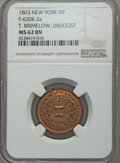 Civil War Merchants, 1863 T. Brimelow, Druggist, New York, NY, MS62 Brown NGC. Baker-520, Fuld NY630K-2a, Miller NY-120, Musante GW-664. Copper, ...