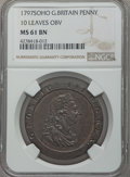 World, 1797 Great Britain Penny, 10 Leaves Obverse, Soho Mint, MS61 Brown NGC....