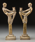 Decorative Arts, Continental, A Pair of Art Deco Silvered Brass Flapper Candlesticks,circa 1930. 16-1/4 inches high (41.3 cm). ... (Total: 2 Items)