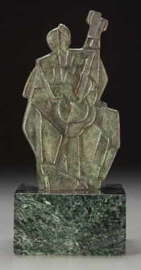 Jan and Joel Martel (French, 1896-1966) Jazz Musician, circa 1928 Bronze with blackish green patina<
