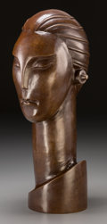 Bronze:American, An Art Deco Bronze Female Bust in the Manner of Hagenauer. 16-1/2inches high (41.9 cm). ...