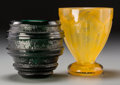 Art Glass:Daum, Two Daum Acid-Etched and Mottled Glass Vases, Nancy, France, circa1930. Marks: DAUM, (Cross of Lorraine), NANCY, FRAN...(Total: 2 Items)