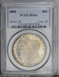 Morgan Dollars: , 1890 $1 MS64 PCGS. A lovely example with rich champagne toning and a veritable rainbow of color at the left obverse and re...