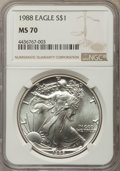 Modern Bullion Coins: , 1988 $1 Silver Eagle MS70 NGC. NGC Census: (409). PCGS Population: (33). ...