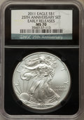 2011 25th Anniversary Silver Eagle Set, Early Releases, NGC Black Label. The set includes the (2)2011 MS70; 2011-W MS70;...