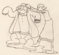 Animation Art:Production Drawing, Dizzy Divers Popeye and Olive Oyl Animation Drawing (Max Fleischer, 1935)....