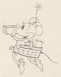 Animation Art:Production Drawing, Building a Building Minnie Mouse Animation Drawing (WaltDisney, 1933)....
