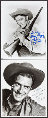 "Chuck Connors & Other Lot (1980s). Autographed Restrike Photos (2) (8"" X 10"") with COA. Miscellaneous..."
