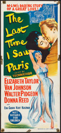 "Movie Posters:Romance, The Last Time I Saw Paris (MGM, 1955). Australian Daybill (13.5"" X 30""). Romance.. ..."