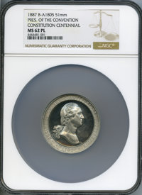 1887 Constitution Centennial, Washington, MS62 Prooflike NGC. Baker-A1805, Musante GW-1042. White metal, 51mm, plain edg...