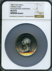 1889 Washington Inauguration Centennial, Thirteen Links, MS62 Prooflike NGC. Douglas-52A, Musante GW-187. White metal, 5...