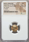Ancients:Greek, Ancients: SICILY. Syracuse. Agathocles (317-289 BC). EL 50 or 25litrae or hemistater (3.56 gm). NGC Choice Fine 4/5 - 4/5. ...