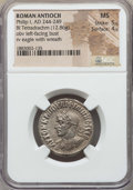 Ancients:Roman Provincial , Ancients: SYRIA. Antioch. Philip I (AD 244-249). BI tetradrachm.NGC MS 5/5 - 4/5....