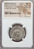Ancients:Roman Provincial , Ancients: SYRIA. Antioch. Philip II (AD 247-249). BI tetradrachm.NGC MS 5/5 - 4/5....