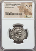 Ancients:Roman Provincial , Ancients: PHOENICIA. Ake-Ptolemais. Caracalla (AD 198-217). BItetradrachm. NGC Choice XF....