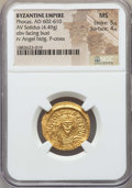 Ancients:Byzantine, Ancients: Phocas (AD 602-610). AV solidus (4.49 gm). NGC MS 5/5 -4/5....