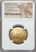Ancients:Byzantine, Ancients: Constantine IX Monomachus (1042-1058). AV histamenonnomisma (4.37 gm). NGC AU 5/5 - 4/5, clipped....