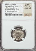 Ancients:Roman Imperial, Ancients: Severus Alexander (AD 222-235). AR denarius (2.94 gm).NGC Choice MS 5/5 - 5/5....