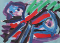 Prints:Contemporary, Karel Appel (Dutch, 1921-2006). Walking with my Bird, 1979.Lithograph on Arches paper. 21-1/2 x 29-1/2 inches (54.6 x 7...