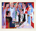 Prints:Contemporary, Giancarlo Impiglia (Italian, b. 1940). Backgammon Players,1988. Serigraph in colors. 27-1/2 x 33 inches (image). 35 x 4...