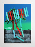 Prints:Contemporary, Menashe Kadishman (Israeli, 1932-2015). Teal and Red Palm,circa 1979. Serigraph in colors. 30-1/2 x 21-1/2 inches (imag...