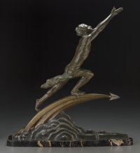 After Frederic Focht (French, 20th Century) Star Chaser Bronze with greenish brown patina 25 inch