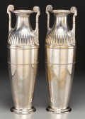 Silver Holloware, Continental, A Pair of WMF Neoclassical Silver-Plated Urn-Form Vases,Geislingen, Germany, circa 1925. Marks: WMF (logotype),G, 16... (Total: 2 Items)