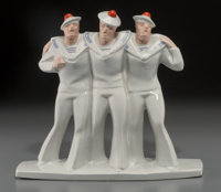 An Art Deco Ceramic Figural Group: Three Drunken Sailors, Design Attributed to Edouard Cazau