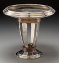 Decorative Arts, Continental, A Continental Art Deco Silver-Plated and Wooden CompoteCenterpiece, circa 1930. Marks: (rooster), 24, (D-logo-R-3).10-...
