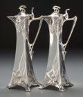 Silver Holloware, Continental, A Pair of WMF Jugendstil Silver-Plated Ewers, Geislingen, Germany,early 20th century. Marks: WMF, EP, as, 1/0. 14-1/4 i...(Total: 2 Items)