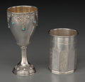 Silver Holloware, Continental, Two Silver Kiddish Cups, 20th century. Marks: (various marks).5-1/8 inches high (13.0 cm). 4.92 troy ounces. ... (Total: 2 Items)