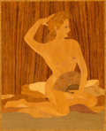 Decorative Arts, French, An Art Deco Marquetry Plaque of a Nude Woman, first half 20thcentury. 17-1/2 inches high x 15 inches wide (44.5 x 38.1 cm)...