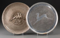 Paintings, Two Art Deco Silvered Metal Plaques with Antelopes, 20th century. 11 inches diameter (27.9 cm). ... (Total: 2 Items)