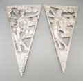 Decorative Arts, Continental, A Pair of Art Deco Chrome Architectural Wall Plaques, circa 1930.16-1/2 inches high (41.9 cm). ... (Total: 2 Items)