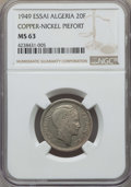 Algeria, Algeria: French Occupation copper-nickel Piefort Essai 20 Francs1949 MS63 NGC,...