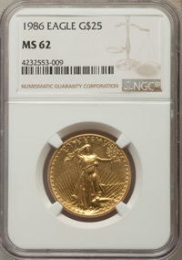 1986 $25 Half-Ounce Gold Eagle MS62 NGC. NGC Census: (3/23346). PCGS Population: (1/9975). Mintage 599,566. ...(PCGS# 98...