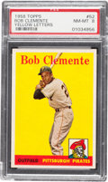 Baseball Cards:Singles (1950-1959), 1958 Topps Roberto Clemente (Yellow Letters) #52 PSA NM-MT 8....