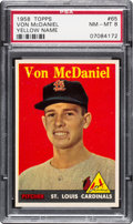 Baseball Cards:Singles (1950-1959), 1958 Topps Von McDaniel (Yellow Letters) #65 PSA NM-MT 8 - OneHigher....